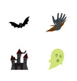 icon flat halloween set of castle bat corpse vector image
