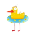 Kids Humorous Yellow Duck with Swimming Circle vector image vector image