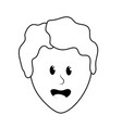 line cute man face with hairstyle vector image vector image