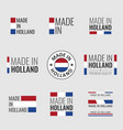 made in netherlands labels set holland product vector image