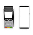 payment terminal and smartphone vector image vector image