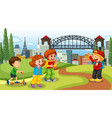 scene with many children in park vector image