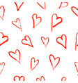 seamless pattern with hand drawn hearts on white vector image