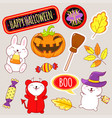 set cute halloween icons in kawaii style vector image vector image
