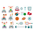 set of handicapped athlete on a wheelchair with vector image vector image