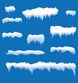 set of snow icicles snow cap isolated snowy vector image