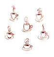 set of watercolor cups of coffee vector image vector image