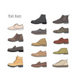 set with different types men boots vector image vector image