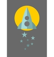 Spaceship on the moon background with blue stars vector image
