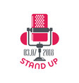 stand up comedy show sign with retro microphone vector image vector image
