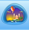sunset with balloon dolphins mosque and palm vector image vector image