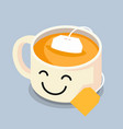 tea cup with smiley face vector image