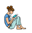 teen girl listening to music or audiobook on the vector image