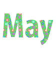 text may lettering with cute spring flower vector image vector image