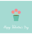 Three pink flowers in pot Happy Valentines Day vector image vector image