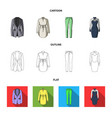 women clothing cartoonoutlineflat icons in set vector image vector image
