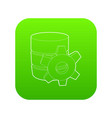 working database icon green vector image vector image
