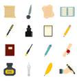 writing icons set flat vector image vector image