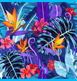 seamless pattern with tropical flowers and plants vector image