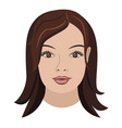 object face long brown hair vector image