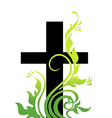 Easter cross and grass vector image
