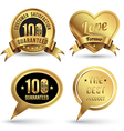 Gold badges set embroidery style vector image