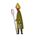 bearded man with fish net and a bucket in his vector image vector image