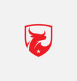 bull shield logo icon bull head icon vector image
