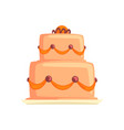 cake for birthday holiday sweet dessert cartoon vector image
