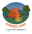 camping summer forest in mountains vector image