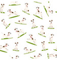 cartoon color funny puppy seamless pattern vector image vector image