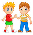 cartoon little boys shaking hands vector image
