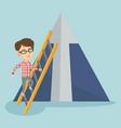 caucasian business woman climbing the mountain vector image vector image