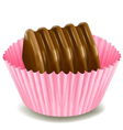 chocolates in a pink cup vector image vector image