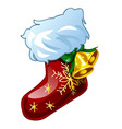 christmas sketch with decor of patterned boot with vector image vector image