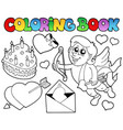 coloring book valentine theme 4 vector image vector image