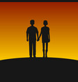 couple silhouettes on sunset background vector image