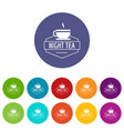 cup tea icons set color vector image vector image