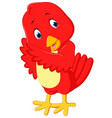 cute red bird cartoon vector image vector image