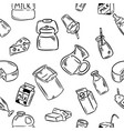 dairy doodles seamless pattern vector image