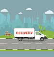 delivery van with shadow and cardboard boxes vector image vector image