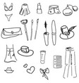 drawn womans stuff vector image vector image