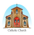 exterior view on christian church in thin line vector image