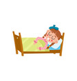 flat ill girl in bed with thermometer vector image