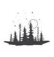 forest silhouette sunset vector image