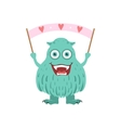 Furry Turquoise Friendly Monster With Banner vector image vector image