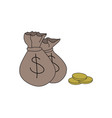 hand drawn money bag and coins with dollar sign vector image