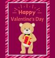 happy valentines day poster teddy toy black tie vector image vector image