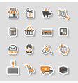 Internet Shopping and Delivery Sticker Icon Set vector image