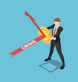 isometric businessman use golden coin as a shield vector image vector image